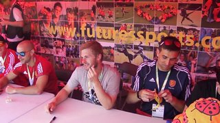 England Men sign autographs at European Hockey Championships 2015