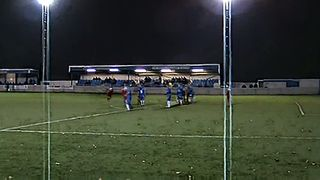 Ramsbottom United Fildes shot hits bar
