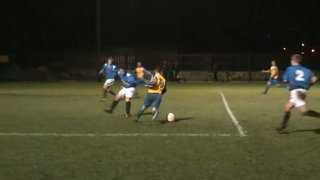 Robbie Smith hooks just past the far post against Padiham