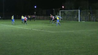 Russell Clarke forces Beesley in the Squires Gate goal to pull off a great save