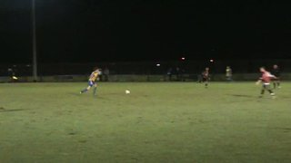 Hollindrake cracks a great shot onto the bar against Squires Gate