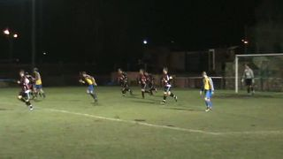 Russell Clarke misses from almost on the goal line against Squires Gate
