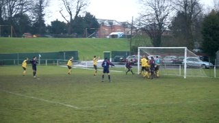 Let off for United as a Radcliffe defender misses an open goal