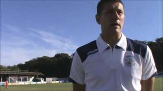 Sam Denly talks to Peter Guise after the win at home to Burgess Hill
