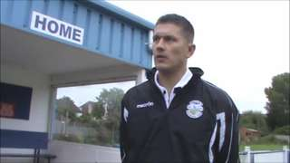 Sam Denly talks to Peter Guise after the FA Trophy draw v Merstham
