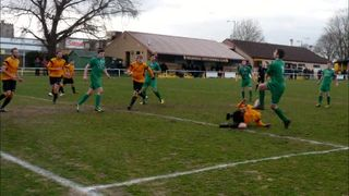 4 pics showing goalmouth scramble at Mildenhall