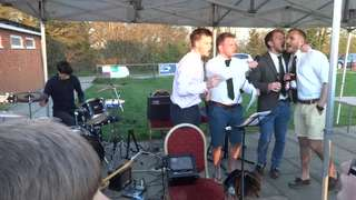 18th April Arnie with Paul Marshall and 1st team backing singers