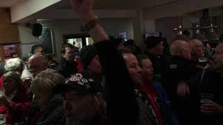 Truro fans celebrating reaching the playoff finals (29042015)