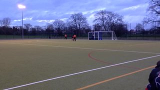 Michael Lawrence winning penalty stroke to go 4-3 up . BOE 1s vs Brighton 2s 25th Jan 2014