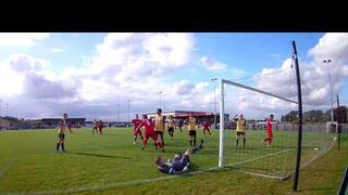 Tom Siddons heads home to open the scoring v Frickley 051019