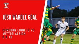 Josh Wardle scores against Runcorn Linnets