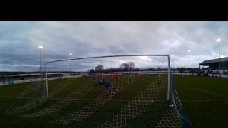 Olly Brown-Hill scores Stamford's only goal in the 4-1 defeat at Frickley 26 01 19