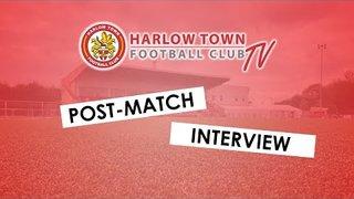 Harlow Town FC vs Folkestone Invicta post match interview - 09/02/19
