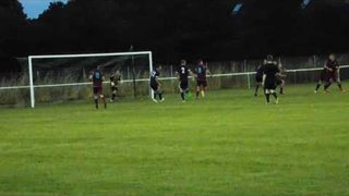 MILTON'S DAVIES' BACK HEADER STRIKES THE HOOK NORTON CROSSBAR, BEFORE OFFSIDE IS FLAGGED