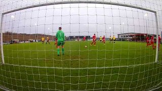 Liam Adams scores a penalty for Stamford