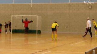 Matthew scores to make it 4-1 in ND Development Indoor League match v GCW 3rds