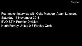 17 November 2018 - Adam Lakeland's post-match interview following the Celts 6-0 league victory at North Ferriby United