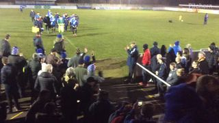 The Townites applaud the players and coaching staff off the pitch after a fine 2-1 win over Banbury United