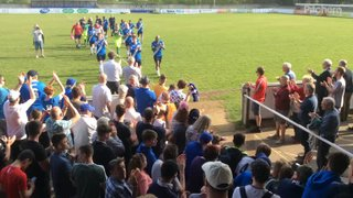 Super Blues given a heroes reception by the Townites as they leave the pitch  after a thrilling 3-2  Win over the Waders